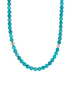 """LAGOS - Sterling Silver Caviar Icon Turquoise Beaded Station Necklace, 34"""""""