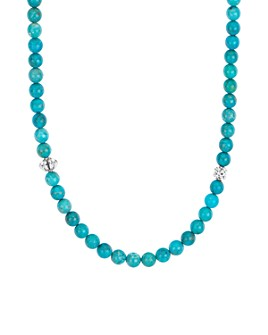 LAGOS - Sterling Silver Caviar Icon Turquoise Beaded Station Necklace, 34""