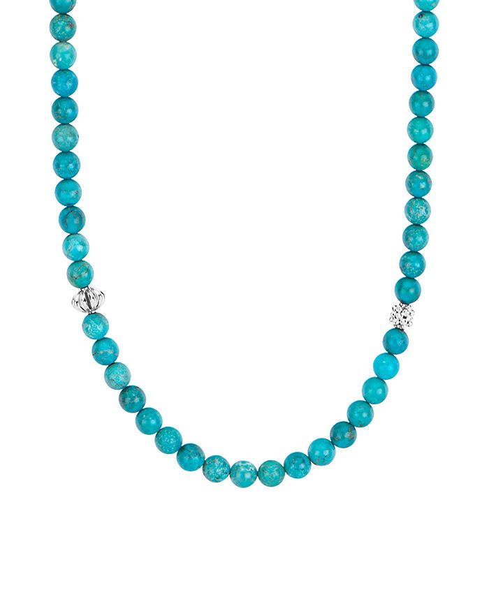 Lagos Sterling Silver Caviar Icon Turquoise Beaded Station Necklace, 34""
