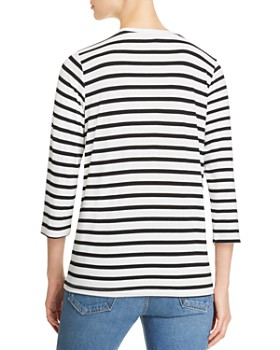 Alison Andrews - Striped Twist-Front Tee