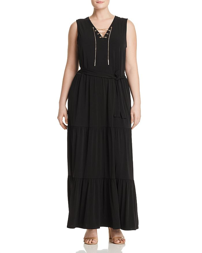 adb9b776661 MICHAEL Michael Kors Plus - Chain Lace-Up Maxi Dress