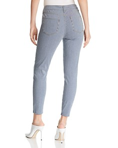 AQUA - High-Rise Railroad-Stripe Skinny Jeans in Rinse Stripe - 100% Exclusive