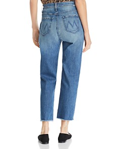MOTHER - Shady Pleated Ankle Fray Straight-Leg Jeans in Narrow Escape