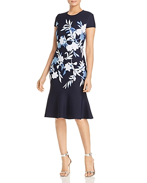St. John Dresses SHADOW FLORAL JACQUARD FIT-AND-FLARE DRESS