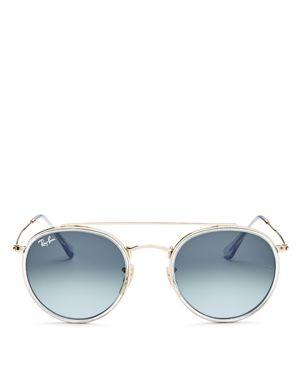 Ray-Ban Unisex Brow Bar Round Sunglasses, 51mm