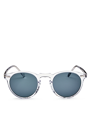 c8dd33dc8ad ... 5217 1101 r8 Crystal Indigo UPC 827934352537 product image for Oliver  Peoples Unisex Gregory Peck Round Sunglasses