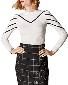 KAREN MILLEN - Scalloped Chevron Detail Sweater