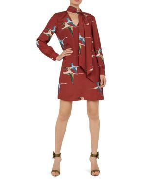 Joelaa Crane-Print Shift Dress in Brown