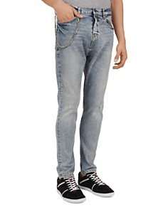 The Kooples - Distressed Slim Fit Jeans in Blue Denim