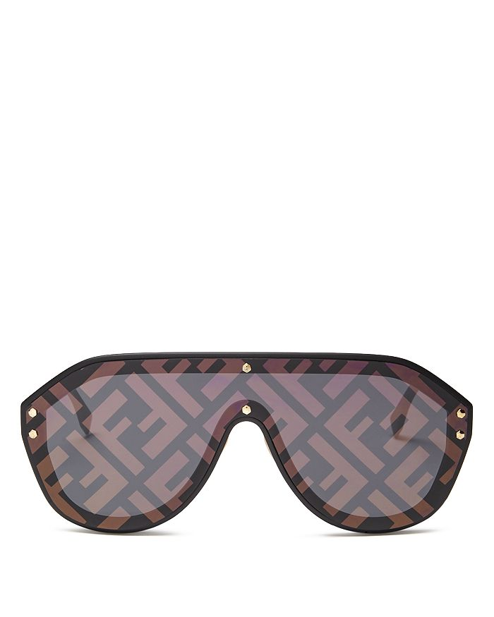 Fendi - Unisex Logo-Print Shield Sunglasses, 99mm