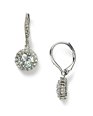 Nadri Framed Round Cubic Zirconia Drop Earrings