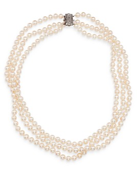 """Bloomingdale's - Cultured Freshwater Pearl Three-Strand Necklace with 14K White Gold, 19"""" - 100% Exclusive"""