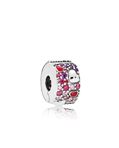 PANDORA - Sterling Silver & Cubic Zirconia Asymmetric Hearts of Love Charm