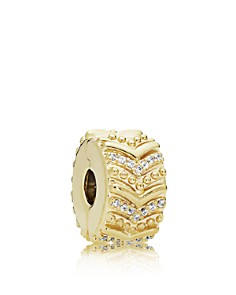 PANDORA - Gold Tone-Plated Sterling Silver & Cubic Zirconia Stylish Wish Clip