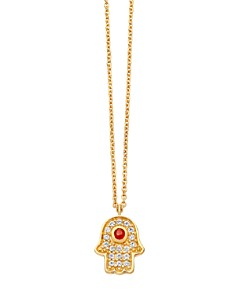 """Astley Clarke - Hamsa Biography Pendant Necklace in 18K Gold-Plated Sterling Silver, 16"""""""