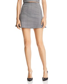 AQUA - Gingham A-Line Mini Skirt - 100% Exclusive