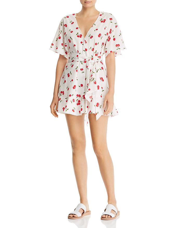 AQUA - Cherry-Print Wrap Mini Dress - 100% Exclusive