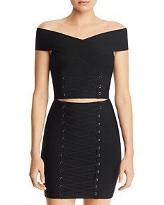 GUESS - Mirage Off-the-Shoulder Lace-Up Cropped Top