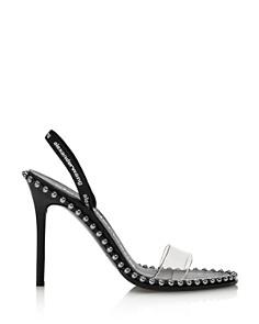 Alexander Wang - Women's Nova Black Logo High-Heel Slingback Sandals