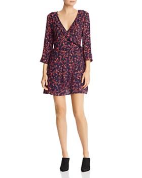 7c4206517a AQUA - Micro-Floral Faux-Wrap Dress - 100% Exclusive ...