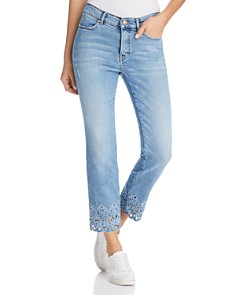 Escada - Embroidered Straight-Leg Ankle Jeans in Bright Blue