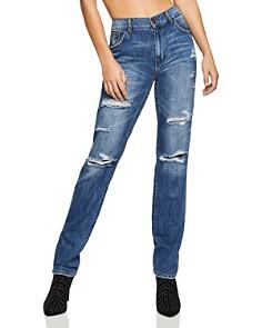 BCBGeneration - Lace-Inset Boyfriend Jeans in Dark Destroyed