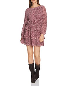 1.STATE - Ditsy Floral Print Ruffe Skirt Dress