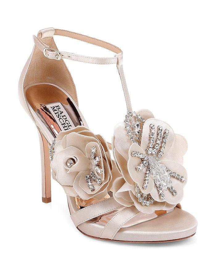 Badgley Mischka - Women's Lisa Embellished Satin Floral Appliqué High-Heel Sandals
