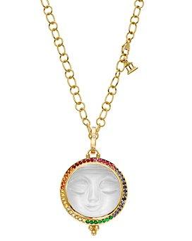 Temple St. Clair - 18K Yellow Gold Celestial Diamond & Rainbow Gemstones Moonface Pendant