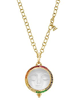Temple St. Clair - 18K Yellow Gold Celestial Diamond & Rainbow Gemstones Moonface Pendant