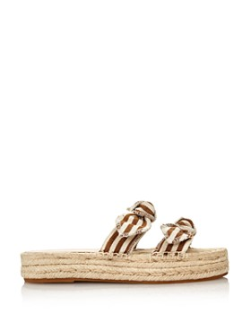 Loeffler Randall - Women's Daisy Open-Toe Leather Espadrille Platform Slide Sandals