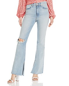 rag & bone/JEAN - Bella Flared Slit-Hem Jeans in Friary With Holes