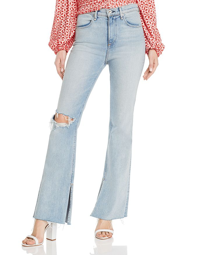 rag & bone - Bella Flared Slit-Hem Jeans in Friary With Holes