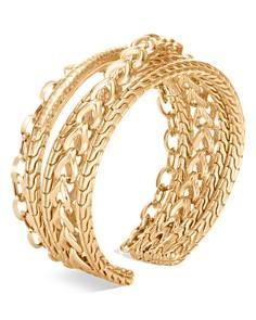 JOHN HARDY - 18K Yellow Gold Classic Chain Hammered Flex Cuff