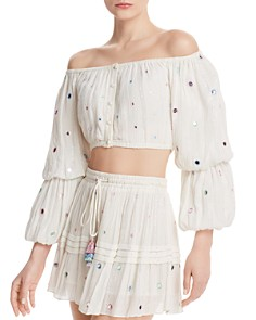 Rococo Sand - Embellished Plissé Cropped Top