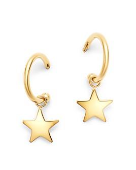 Moon & Meadow - 14K Yellow Gold Small Dangling Star Hoop Earrings - 100% Exclusive