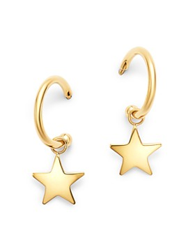 Moon & Meadow - 14K Yellow Gold Small Dangling Star Hoop Earrings - 100% Exclusive