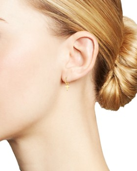 Moon & Meadow - 14K Yellow Gold Small Dangling Cross Hoop Earrings - 100% Exclusive