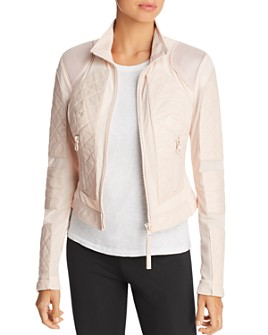 Blanc Noir - Leather & Mesh Moto Jacket