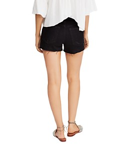 Free People - Sofia Distressed Denim Shorts in Black