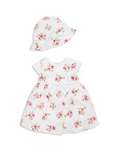 Little Me - Girls' Garden Dress, Bloomers & Sun Hat Set - Baby