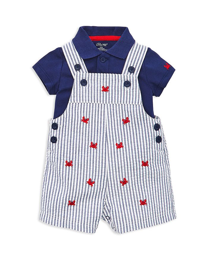 Little Me - Boys' Crab Seersucker Overalls & Polo Set - Baby