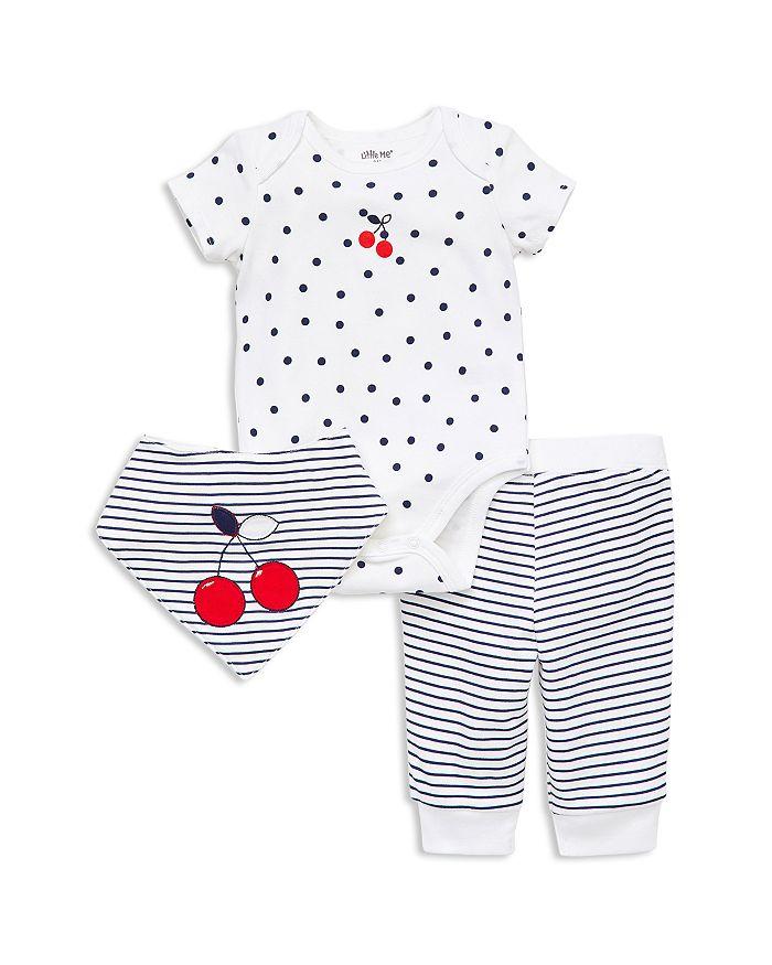 Little Me - Girls' Cherry Bodysuit, Pants & Bandana Bib Set - Baby