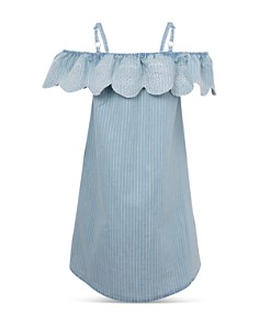 BCBGirls - Girls' Striped Denim Off-the-Shoulder Dress - Big Kid
