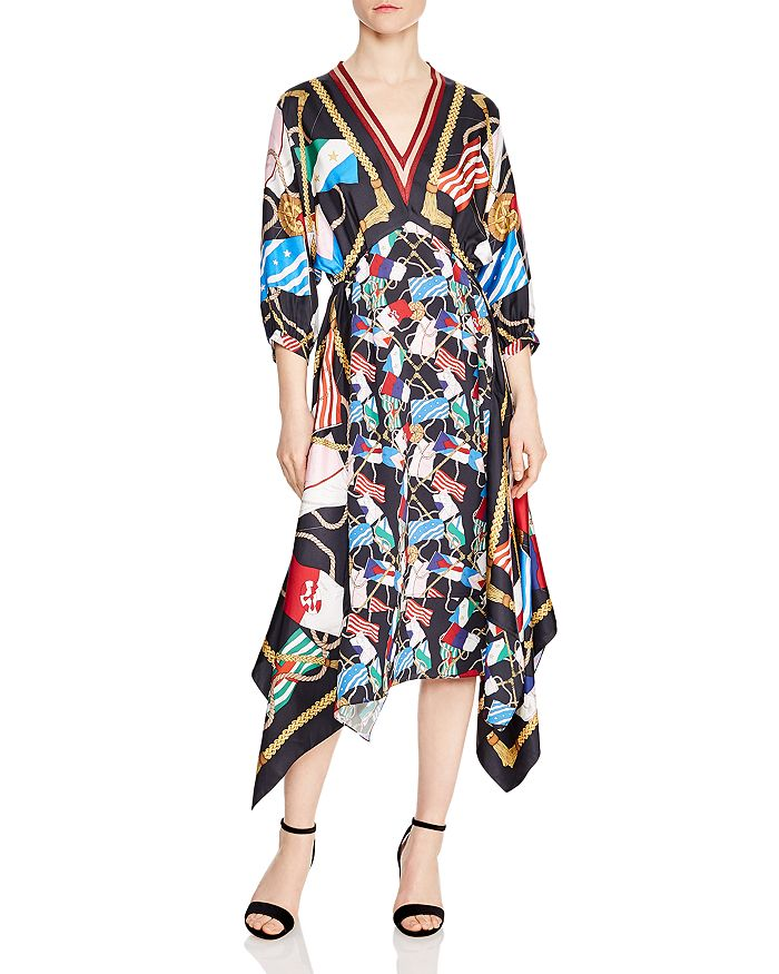 Lauriane Flag-Print Midi Dress