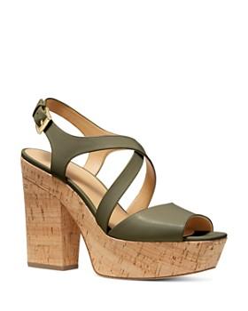 ad599d31aed7 MICHAEL Michael Kors - Women s Abbott Leather Platform Wedge Sandals - 100%  Exclusive ...