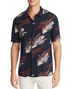 PAIGE - Landon Short-Sleeve Bird-Print Slim Fit Shirt