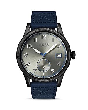 Boss Hugo Boss Legacy Blue Leather Strap Watch, 44mm