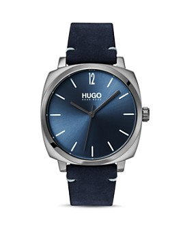 HUGO - #OWN Blue Leather Strap Watch, 40mm