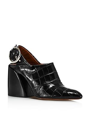 Chloe Women's Croc-Embossed Block Heel Slingback Mules